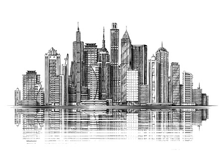 Illustration pour Big city architecture. Skyscrapers sketch - image libre de droit