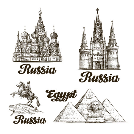 Travel. Hand drawn sketch Russia, Egypt. Vector illustration