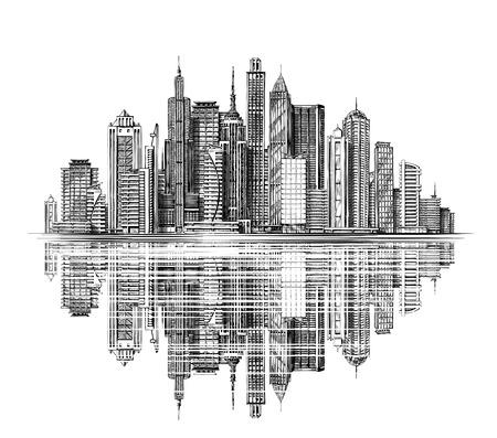 Illustration pour Modern City Skyline silhouette. Architecture and Buildings. Hand drawn sketch urban landscape - image libre de droit