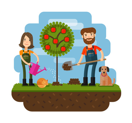 Planting of tree, orchard, farmer, farm. Flat design illustration concepts for working, farming, harvesting, gardening seeding cultivate