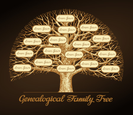 Illustration for Genealogical family tree on a dark background. Dynasty. Vector illustration - Royalty Free Image