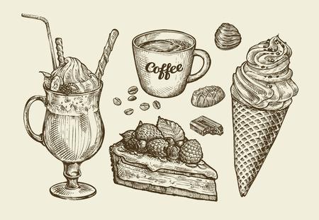 Vektor für Food, dessert, drink. Hand-drawn ice cream, sundae, cup of coffee, tea, cake, pie chocolate candy cocktail smoothie milkshake Sketch vector illustration - Lizenzfreies Bild
