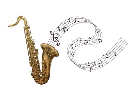 Illustration pour Saxophone music, jazz vector illustration. Sax isolated - image libre de droit