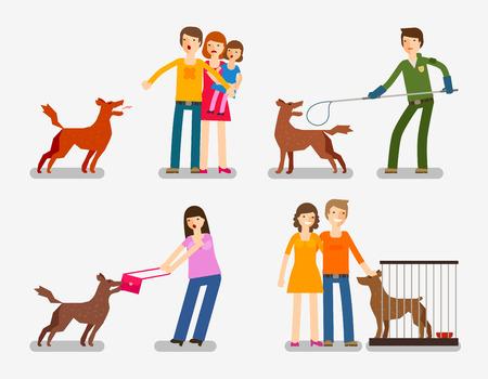 Illustration pour Stray dog, abandoned dog. Set of cartoon icons vector illustration - image libre de droit