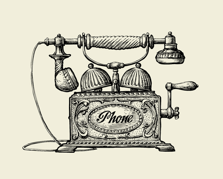 Illustration pour Vintage telephone. Hand drawn sketch retro phone. Vector illustration - image libre de droit