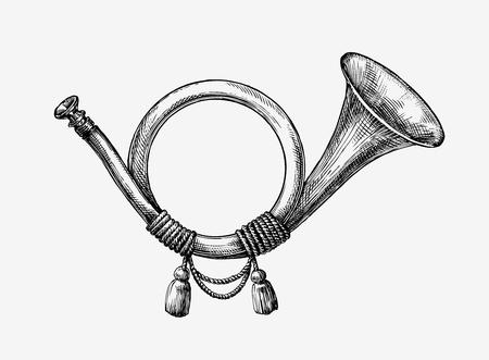 Illustration pour Hand-drawn vintage hunting horn. Sketch post horn. Vector illustration - image libre de droit
