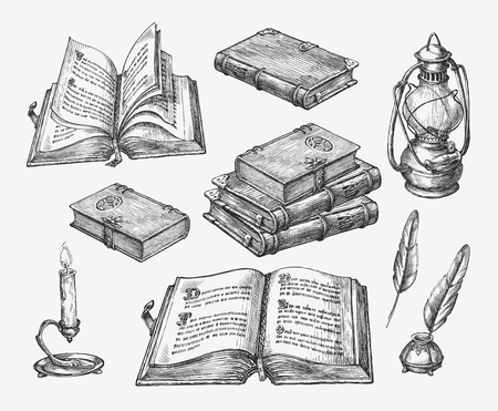 Illustration pour Hand drawn vintage books. Sketch old school literature. Vector illustration - image libre de droit