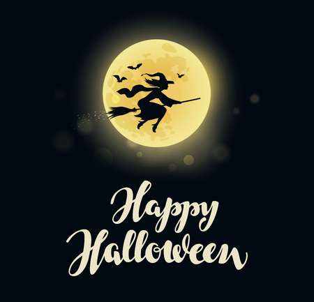 Illustration for Halloween. Full moon witch flying on broom. - Royalty Free Image