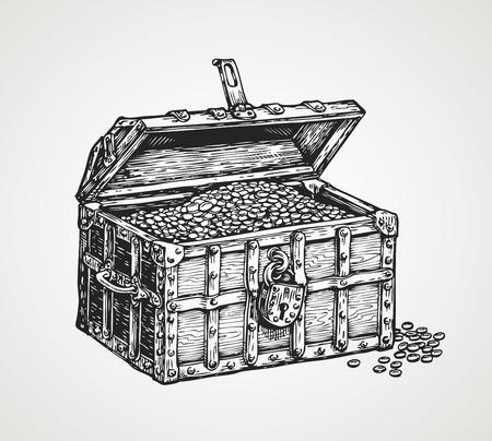 Illustration pour wooden chest with treasures. vintage sketch vector illustration - image libre de droit