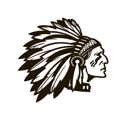 Illustration pour American Indian Chief. Logo or icon. Vector illustration isolated on white background - image libre de droit