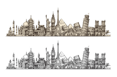Illustration for Travel. Famous monuments of world. Sketch vector illustration isolated on white background - Royalty Free Image