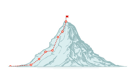 Illustration pour Mountain climbing route. Business vector illustration isolated on white background - image libre de droit