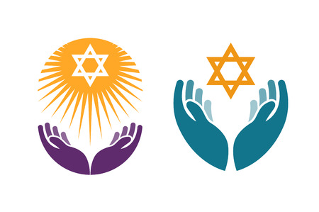 Illustration for Hands holding Star of David. Icon or symbol vector isolated on white background - Royalty Free Image