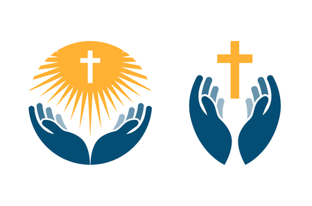 Illustration pour Hands holding Cross, icons or symbols. Religion, Church vector logo isolated on white background - image libre de droit