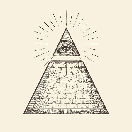 Illustration pour All seeing eye pyramid symbol. New World Order. Hand-drawn sketch vector - image libre de droit