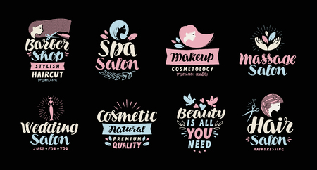 Illustration for Beauty salon, spa, cosmetic, barber shop or makeup logo. Handwritten in beautiful calligraphic text, lettering. Label vector illustration - Royalty Free Image