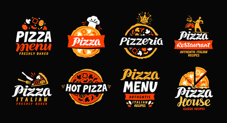 Ilustración de Pizza logo. Collection labels for menu design restaurant or pizzeria. Vector icons - Imagen libre de derechos