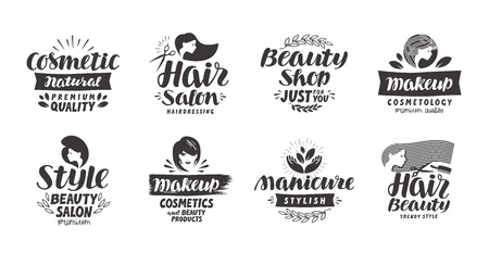 Ilustración de Beauty salon logo, set of icons. Beautiful labels such as cosmetic, makeup, manicure, style. Vector illustration - Imagen libre de derechos
