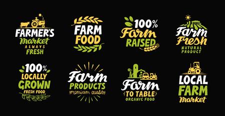 Vektor für Farm fresh labels. Farmer icon. Farming logo. Organic, natural food collection symbol - Lizenzfreies Bild