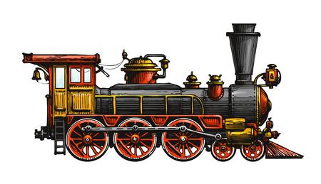Illustration pour Vintage steam locomotive. Drawn ancient train, transport. Vector illustration - image libre de droit
