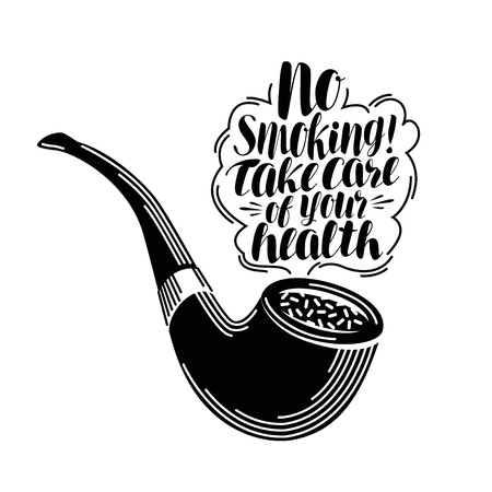 No smoking, lettering. Typographic design, tobacco. Calligraphy vector illustration