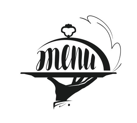 Ilustración de Food service, catering logo. Icon for design menu restaurant or cafe. Vector illustration - Imagen libre de derechos