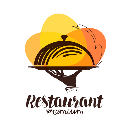 Illustration pour Restaurant logo. Icon or symbol for design menu eatery, canteen or cafe. Lettering vector illustration - image libre de droit