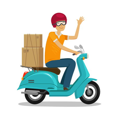 Ilustración de Express delivery, fast shipment concept. Happy courier rides scooter or moped cartoon vector illustration. - Imagen libre de derechos