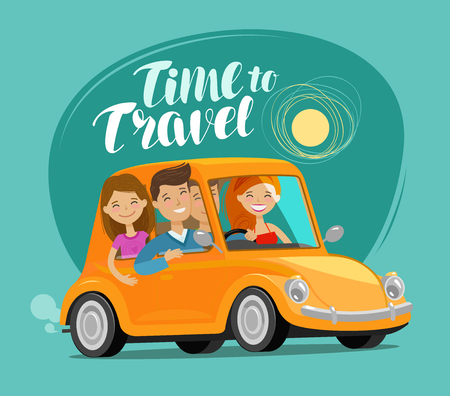 Illustration for Tme to travel, concept. Happy friends ride retro car on journey. Funny cartoon vector illustration - Royalty Free Image