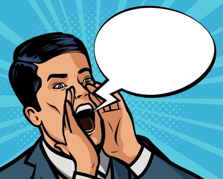 Illustration pour businessman is shouting loudly. Vector illustration in style comic pop art - image libre de droit