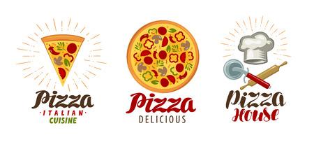 Illustration pour Pizza, pizzeria logo or icon. Labels for menu design restaurant or cafe. Vector illustration - image libre de droit