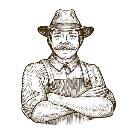 Foto de Happy farmer in the hat. Vintage sketch - Imagen libre de derechos