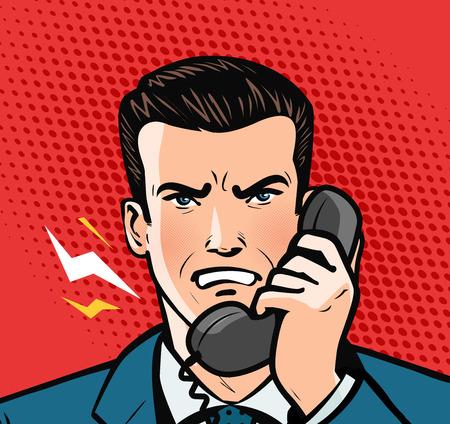 Photo pour angry man talking on the phone. business concept. Pop art retro comic style - image libre de droit