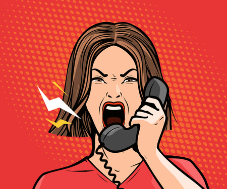 Illustration pour angry girl or young woman screaming into the phone. Pop art retro comic style. Cartoon vector - image libre de droit