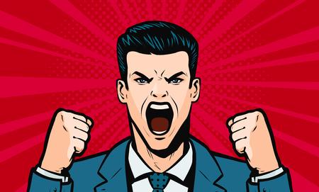 Illustration pour man screaming loudly. Cartoon in pop art retro comic style, vector - image libre de droit