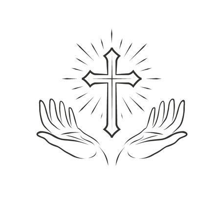 Illustration pour Hands and cross - image libre de droit