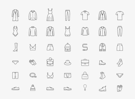 Illustration for Clothing icon set in linear style on white - Royalty Free Image