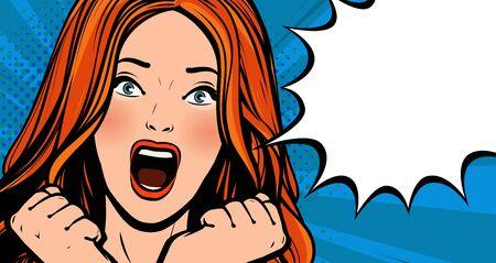 Illustration pour Beautiful girl screams with delight. Pop art retro comic style. - image libre de droit