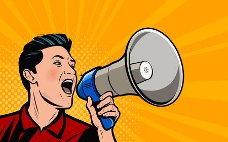 Illustration pour Businessman shouting loudly into loudspeaker. Retro comic pop art vector illustration - image libre de droit