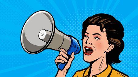 Illustration pour Woman shouting loudly into loudspeaker. Retro comic pop art vector illustration - image libre de droit