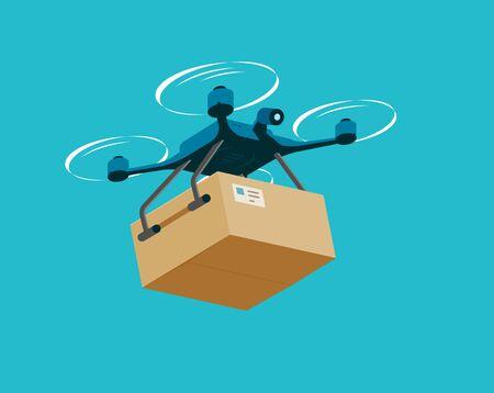 Illustration pour Air drone with box. Delivery service vector illustration - image libre de droit