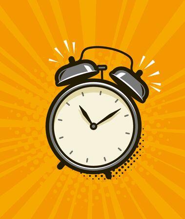 Illustration pour Ringing alarm clock. Retro comic pop art vector - image libre de droit
