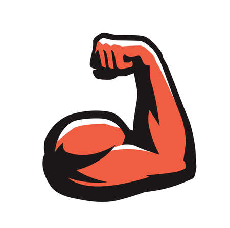 Muscular arm with clenched fist. Gym, power symbol vector
