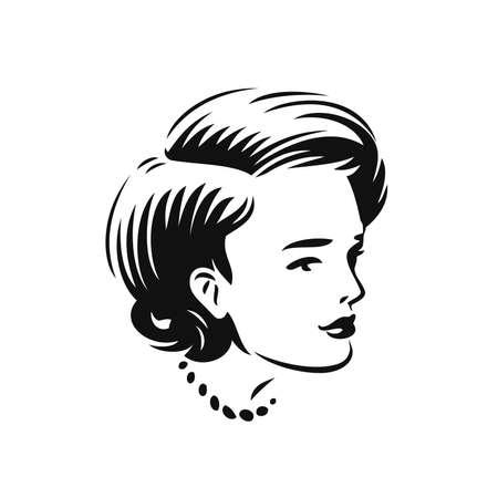 Illustration pour Face of beautiful woman. Beauty salon, spa, cosmetics symbol vector illustration - image libre de droit