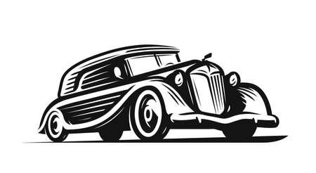 Illustration for Retro car. Vintage vehicle, transport symbol - Royalty Free Image