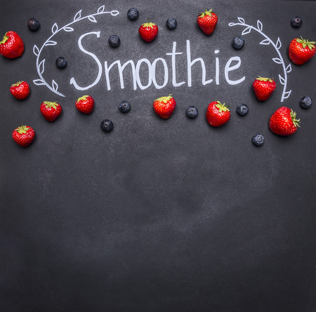 Foto für Fresh organic Smoothie ingredients. Superfoods and health or detox diet food concept. concept cooking smoothies from fruit and vegetables, on the chalk board, with space for text - Lizenzfreies Bild
