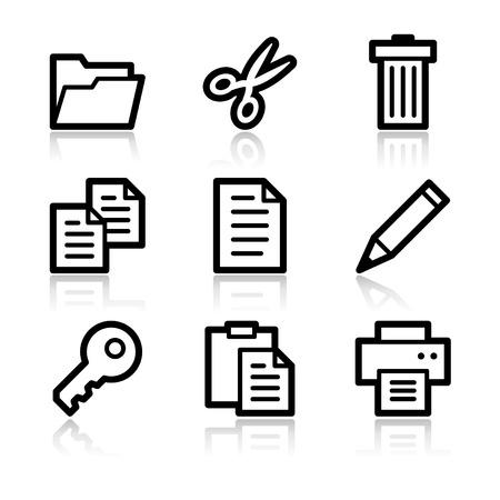 Document black contour web icons V2