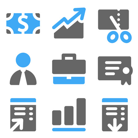 Finance web icons, blue and grey solid icons