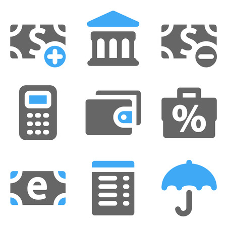 Finance web icons set 2, blue and grey solid icons