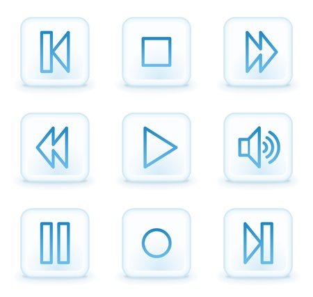 music player web icons, white square buttons: Royalty-free